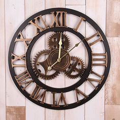 3D Retro Modern Large Quartz Wall Art Gear Vintage Clock Antique Room Home Decor