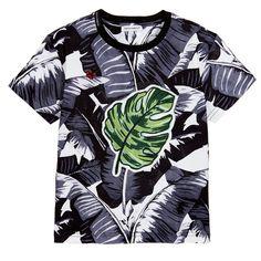Dolce & Gabbana - Boys Grey 'Banana Leaf' T-Shirt  