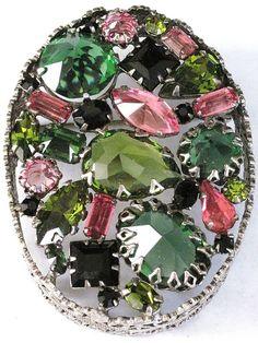 SCHREINER+Amazing+Pink+Black+&+Green+Inverted+RHinestone+High+Relief+Pin+