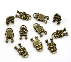 Getting geeky? 30 Bronze Toned Robot Charms, starting at $5.