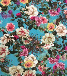 Sateen Fabric-Teal Rose Garden