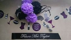 Hens night decorations and accessories made to order, black and purple theme, by From Missy With Love www.frommissywithlove.com