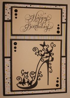 Hand made birthday card using tattered lace shoe die. By Linda Fraser … 21st Birthday Cards, Birthday Cards For Women, Handmade Birthday Cards, Greeting Cards Handmade, Happy Birthday, Cool Cards, Diy Cards, Craft Cards, Pinterest Birthday Cards