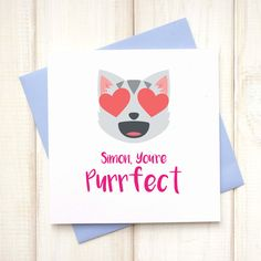 Personalised Emoji Message Card - iPhone Message Card - Text Message Card - Valentines Emoji Card - Boyfriend Valentines Card - Love - Let's Dream - Etsy Perfect Emoji, Emoji Love, Cat Birthday, Birthday Cards, Emoji Messages, Personalized Emoji, Cat Emoji, Cat Cards, Message Card