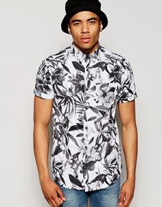 New Look Shirt with Tropical Floral Print