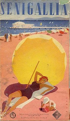 Senigallia Beach, an old poster Vintage Italian Posters, Poster Vintage, Vintage Travel Posters, Vintage Postcards, Vintage Advertisements, Vintage Ads, Vintage Photos, Beach Posters, Vintage Italy