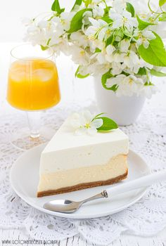 Creamy cheesecake with orange mousse