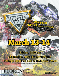 Monster Jam returns to the Florence Civic Center in Florence, SC March 13-14!
