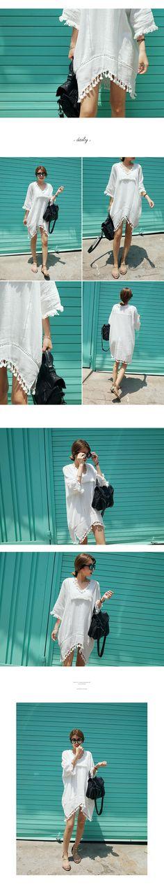 タッセルVネックオーバーワンピース・全1色ドレス・ワンピドレス・ワンピ|レディースファッション通販 DHOLICディーホリック [ファストファッション 水着 ワンピース]