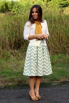 chevron skirt, mustard scarf