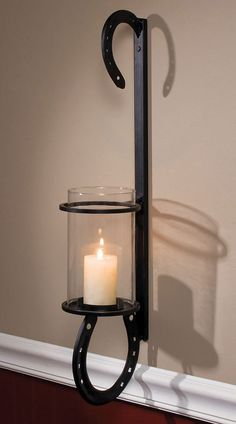 Iron Horseshoes Candle Wall Sconce