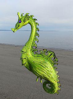Seahorse Flamingo Garden Sculpture - handmade art outdoor yard art from up-cycled plastic flamingos via Etsy