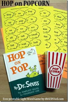 FREE-Hop on Popcorn Free Printable Sight Word Game...Hop on Pop is a classic Dr. Seuss book containing a variety of sight words perfect for beginning readers.  I created this Hop on Popcorn sight word game using the words from the book. I drew the popcorn outline and scanned it into my computer to add all the words.