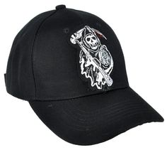 Sons of Anarchy Grim Reaper on Black Hat   Baseball Cap - High Quality  Stitching 7ec0bd71b6e