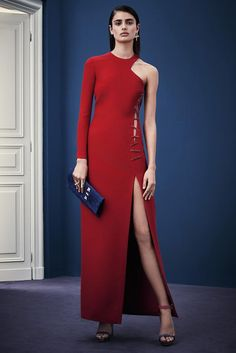 Versace pre-fall 2015 sexy red dress with slit
