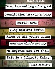 Awesome Movie quotes: High Fidelity Mix Tape Movie Quote Print p127 by chicalookate, $10.00... Quote Prints by Me Check more at http://kinoman.top/pin/16791/