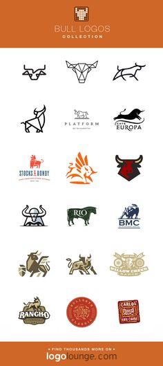 Logo Collection : Bull vector logo designs. Cow, horns, hoof, steer, skull, strong. #logo #bulls