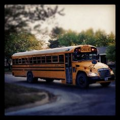 Blue Bird Vision School Bus fixing to make a stop & strobe light double flash dancing on the roof :)!!