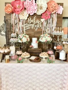Such a pretty Boho Chic Baby Shower!! Love the dessert table! See more party ideas and share yours at CatchMyParty.com #bohochic #babyshower