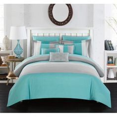Chic Home Ayelet 10 Piece Comforter Set Color Block Ruffled Bed in a Bag Turquoise Console, Bedroom Turquoise, Turquoise Comforter, Teal Bedding Sets, Bed In A Bag, Ruffle Bedding, Queen Comforter Sets, Bed Sizes, My New Room