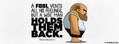 Proverbs 29:11 NKJV - It's Foolish To Vent All Your Feelings. - Facebook Cover Photo