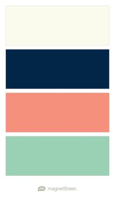 Ivory, Navy, Coral, and Mint