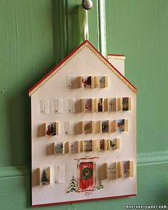 Advent calendar. I'd put relatives photos behind each window instead of images from old greeting cards.