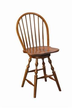 Amish Alexandria Windsor Swivel Bar Stool Windsor style bar stools made with solid wood. The Alexandria brings Windsor elegance and comfort to your kitchen island or bar. Amish made in America. #Windsor #Windsorchairs #barstools