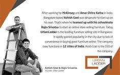 An Entrepreneurial Journey Of Ashish Goel and Rajiv Srivasta, Founders of UrbanLadder Digital Marketing Strategy, Digital Marketing Services, Selling Furniture, Business Furniture, Communication Design, Design Agency, Entrepreneur, Web Design, Journey