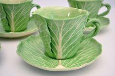 6 Dodie Thayer Vtg Mid Century Ceramic Pottery Cabbage Lettuce Leaf Cup Saucer | eBay