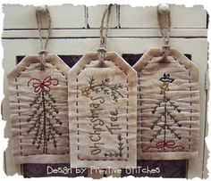 Christmas Stick Tree Tag Collection-Primitive by PrimitiveStitches Christmas Sewing, Primitive Christmas, Christmas Tag, Christmas Crafts, Christmas Ornaments, Country Christmas, Christmas Trees, Felt Embroidery, Christmas Embroidery