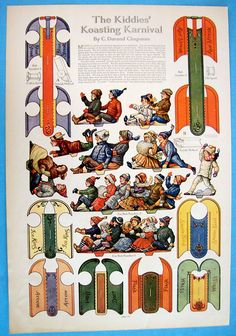This vintage Paper Doll Cut Out pictorial comes out of an oldissue of The Ladies Home Journal, cirac 1915 or and is called The Kiddies Christmas Paper Crafts, Christmas Ornament, Christmas Diy, Paper Crafts Magazine, Origami, Christmas Makes, Vintage Christmas, Paper Toys, Paper Puppets