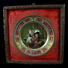 """ANTIQUE DRESDEN FRAMED CABINET PLATE""""CAVALIER AND A : Lot 70C"""
