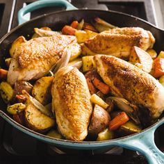 For this version of classic roast chicken and vegetables, we knew we could use our cast-iron skillet to get a great seared crust on the chicken, but could we cook the vegetables in sync—and not dry out the chicken?