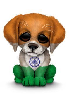 Cute Patriotic Indian Flag Puppy