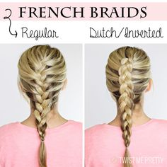4 basic braids - Learn how to do the basic braids like French braids, Waterfall braids, and Lace braids. Learn how to do it regularly and dutch/inverted. Up Hairstyles, Pretty Hairstyles, Braided Hairstyles, School Hairstyles, Braided Updo, Wedding Hairstyles, Princess Hairstyles, Teenage Hairstyles, Inverted Braid