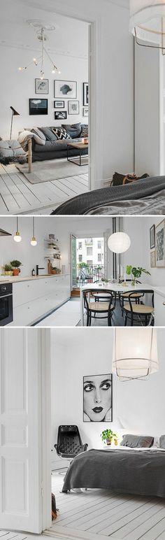 parquet blanc, appartement scandinave, parquet en bois blanchi