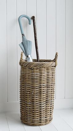 A large narrow grey willow umbrella basket from The White Lighthouse Hallway furniture for white, New England, country, coastal and country homes and interior design Hall Furniture, Wicker Furniture, Shoe Storage, Storage Baskets, Hallway Storage, Upcycled Home Decor, Vases, White Home Decor, Hallway Decorating
