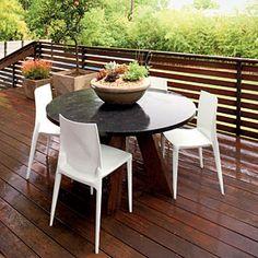 Zen-Inspired Backyard Deck | Open-Air Dining | SouthernLiving.com Succulent centerpiece