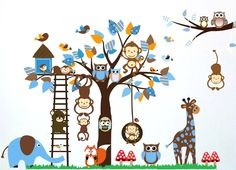 Owl Monkey Squirrel Giraffe Tree Tree Wall Stickers Nursery Children's Room Cartoon Removable Mural Vinyl Art Home Decor Sticker Wall Stickers 3d, Removable Wall Stickers, Wall Decals, Wall Art, Kids Learning Toys, Educational Toys For Kids, Cartoon Monkey, Cartoon Kids, Happy Baby