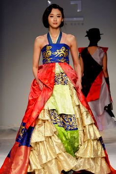 epic colors in this hanbok on the runway