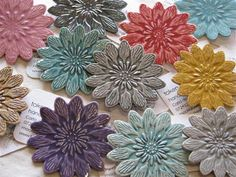ceramic flower brooches