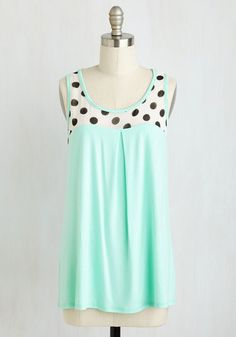 Sundae Funday Top. Youre feeling three scoops of delighted as you set off on an ice cream expedition in this pale mint tank! #mint #modcloth