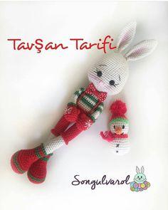 Mesmerizing Crochet an Amigurumi Rabbit Ideas. Lovely Crochet an Amigurumi Rabbit Ideas. Crochet Bunny, Crochet Dolls, Amigurumi Doll, Amigurumi Patterns, Christmas Bunny, Christmas Animals, Christmas Crochet Patterns, Crochet Christmas, Soft Dolls