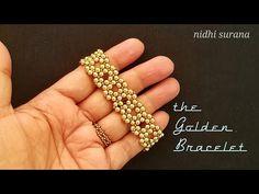 ⚜️ Gorgeous Gold Bracelet/Choker    Beaded Bracelet/ Pulsera Tutorial Diy (0403) - YouTube Beaded Bracelets Tutorial, Seed Bead Bracelets, Seed Bead Jewelry, Bead Jewellery, Handmade Bracelets, Loom Bracelets, Macrame Bracelets, Beaded Jewelry Patterns, Beading Patterns