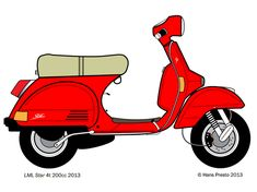 LML Star 200cc Vespa PX Adobe Illustrator drawing