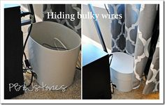 use a cardboard container to hide bulky wires