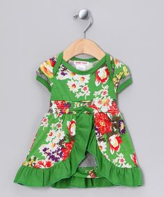 Take a look at this Emerald Rose Smocked Skirted Bodysuit - Infant by Baby Nay Collection on #zulily today!
