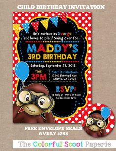 Curious George Birthday Invitation, Curious George Birthday Invite, Curious George Birthday Party, 1st Birthday Party  (#756) by TheColorfulScoot on Etsy https://www.etsy.com/listing/267549600/curious-george-birthday-invitation