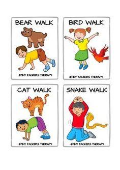 Animal Walks Movement Cards - Brain Breaks, Self-Regulation, Sensory Break Physical Activities For Kids, Animal Activities For Kids, Gross Motor Activities, Movement Activities, Preschool Learning Activities, Therapy Activities, Preschool Activities, Kids Learning, Kids Yoga Poses